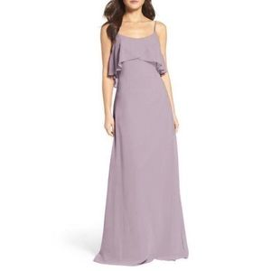 WToo NEW Ruffle Popover Chiffon Strappy Gown Dress